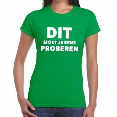 Evenementen tekst t-shirt groen met dit moet je eens proberen bedrukk