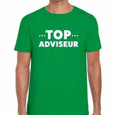 Evenementen tekst t-shirt groen met top adviseur bedrukking voor here
