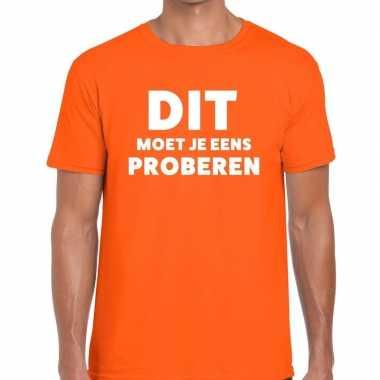 Evenementen tekst t-shirt oranje met dit moet je eens proberen bedruk