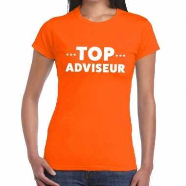 Evenementen tekst t-shirt oranje met top adviseur bedrukking voor dam