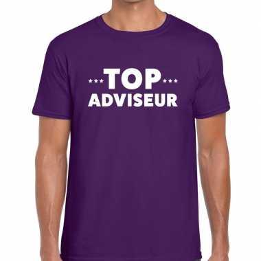 Evenementen tekst t-shirt paars met top adviseur bedrukking voor here
