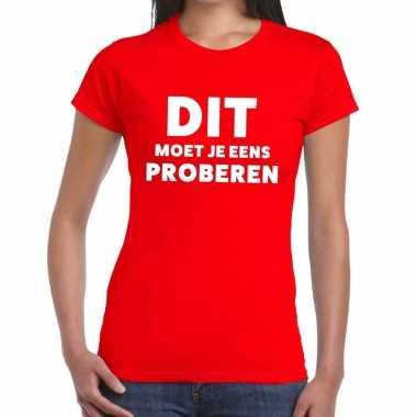 Evenementen tekst t-shirt rood met dit moet je eens proberen bedrukki