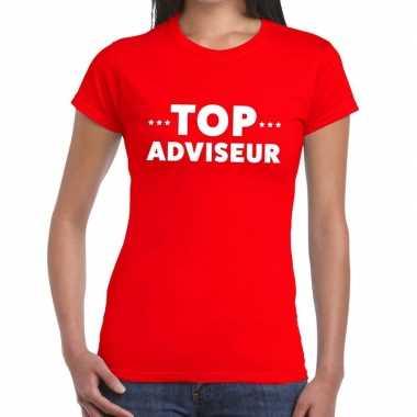 Evenementen tekst t-shirt rood met top adviseur bedrukking voor dames