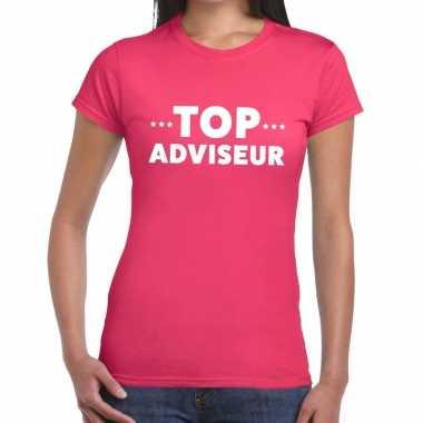 Evenementen tekst t-shirt roze met top adviseur bedrukking voor dames