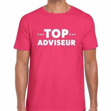 Evenementen tekst t-shirt roze met top adviseur bedrukking voor heren