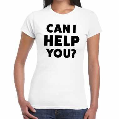 Evenementen tekst t-shirt wit met can i help you bedrukking voor dame