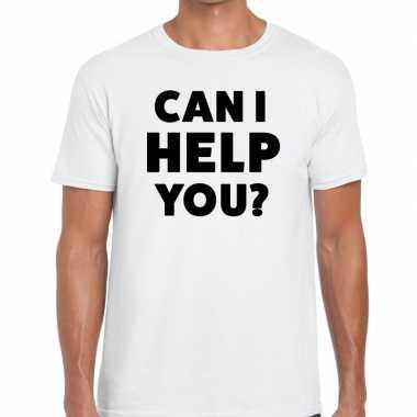 Evenementen tekst t-shirt wit met can i help you bedrukking voor here