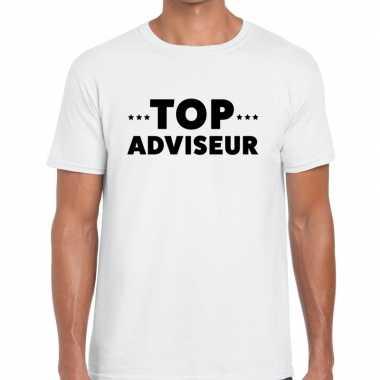 Evenementen tekst t-shirt wit met top adviseur bedrukking voor heren
