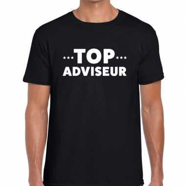Evenementen tekst t-shirt zwart met top adviseur bedrukking voor here