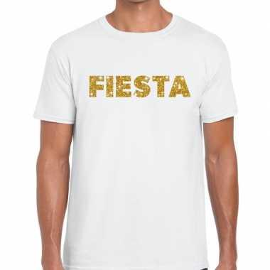 Fiesta goud tekst fun t-shirt wit voor heren