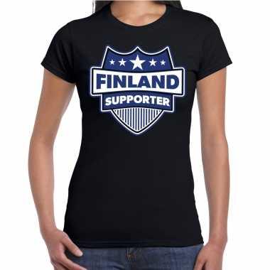 Finland supporter t-shirt zwart voor dames