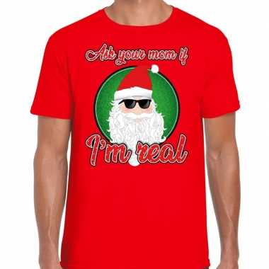 Fout kerst shirt stoere kerstman i am real rood voor heren