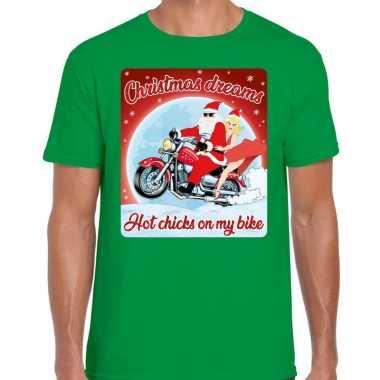 Fout kerstborrel shirt / kerstshirt christmas dreams groen voor motorrijders voor heren