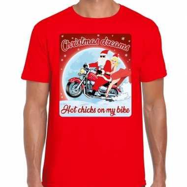 Fout kerstborrel shirt / kerstshirt christmas dreams rood voor motorrijders voor heren