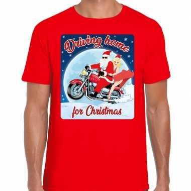 Fout kerstborrel shirt / kerstshirt driving home for christmas rood voor motorrijders voor heren
