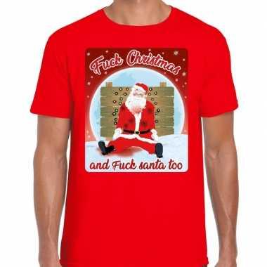 Fout kerstborrel shirt / kerstshirt fuck christmas rood voor heren