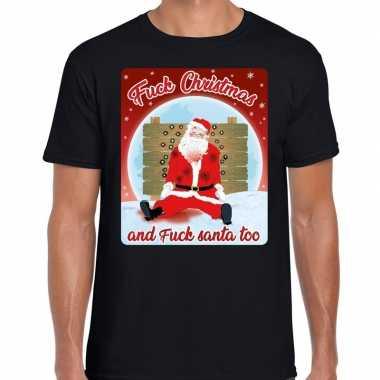 Fout kerstborrel shirt / kerstshirt fuck christmas zwart voor heren