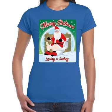 Fout kerstborrel shirt / kerstshirt merry shitmas blauw voor dames