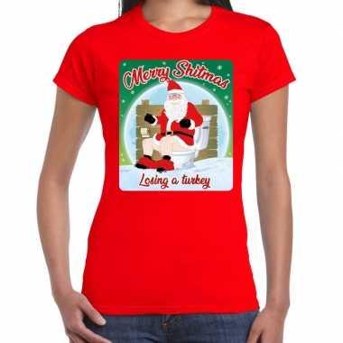 Fout kerstborrel shirt / kerstshirt merry shitmas rood voor dames