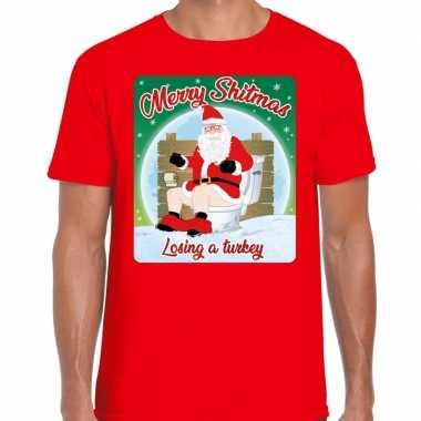 Fout kerstborrel shirt / kerstshirt merry shitmas rood voor heren