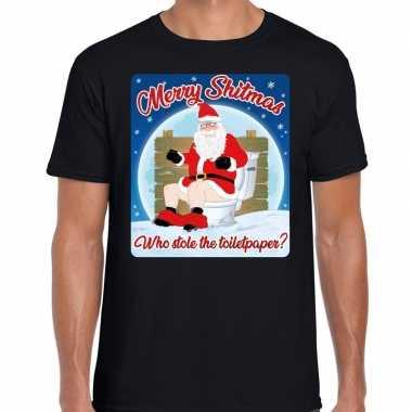 Fout kerstborrel shirt / kerstshirt merry shitmas zwart voor heren