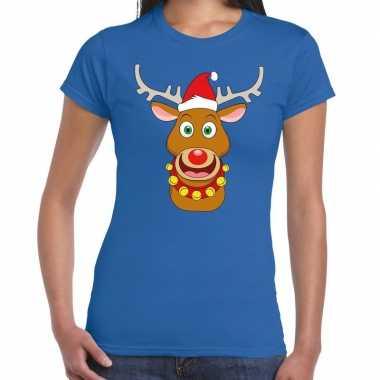 Fout kerstmis shirt blauw met de kerstman en rudolf voor dames