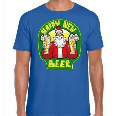 Fout oud en nieuw / kerst shirt happy new beer blauw voor heren