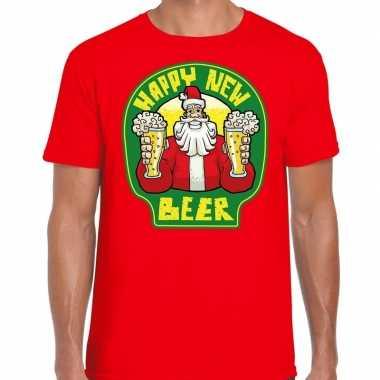 Fout oud en nieuw / kerst shirt happy new beer rood voor heren