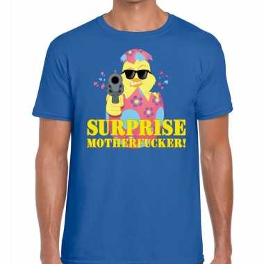 Fout pasen shirt blauw surprise motherfucker voor heren