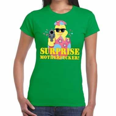 Fout pasen shirt groen surprise motherfucker voor dames
