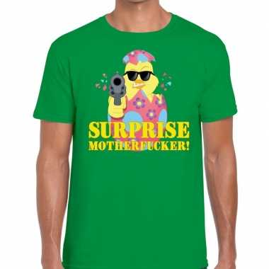 Fout pasen shirt groen surprise motherfucker voor heren