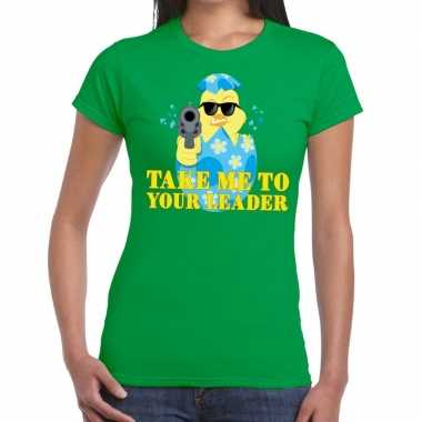 Fout pasen shirt groen take me to your leader voor dames