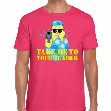 Fout pasen shirt roze take me to your leader voor heren