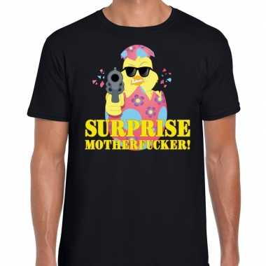 Fout pasen shirt zwart surprise motherfucker voor heren
