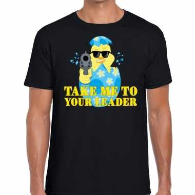 Fout pasen shirt zwart take me to your leader voor heren