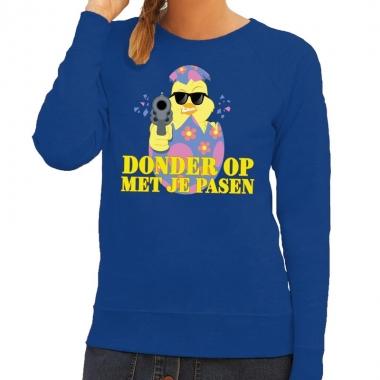 Fout pasen sweater blauw donder op met je pasen voor dames