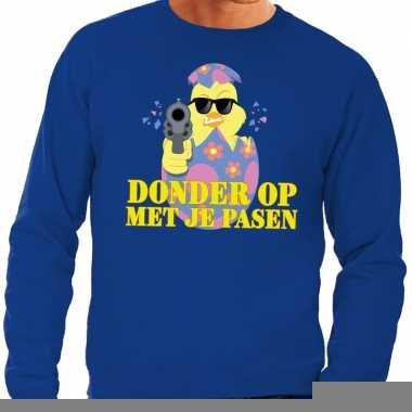 Fout pasen sweater blauw donder op met je pasen voor heren