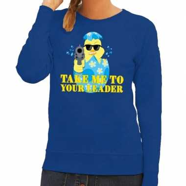 Fout pasen sweater blauw take me to your leader voor dames