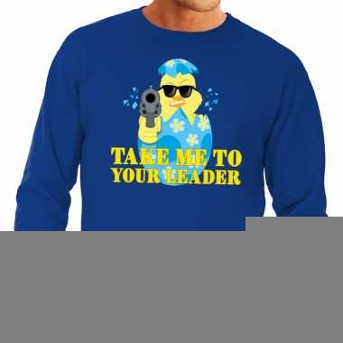 Fout pasen sweater blauw take me to your leader voor heren