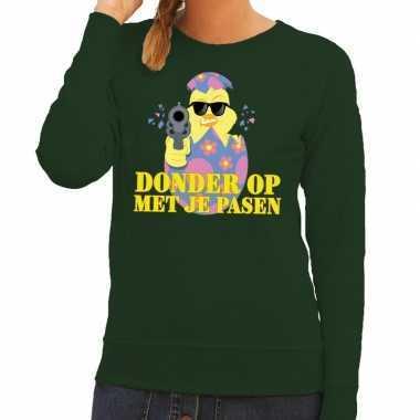 Fout pasen sweater groen donder op met je pasen voor dames