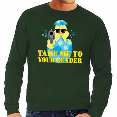 Fout pasen sweater groen take me to your leader voor heren