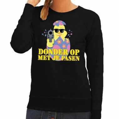 Fout pasen sweater zwart donder op met je pasen voor dames