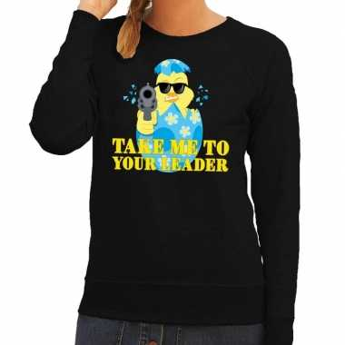 Fout pasen sweater zwart take me to your leader voor dames
