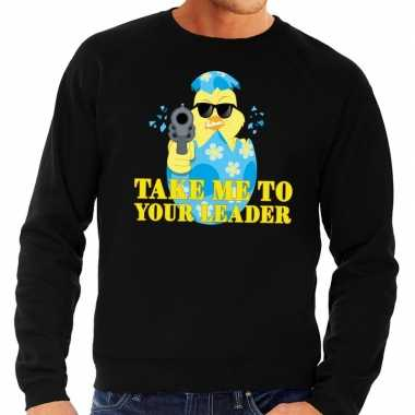 Fout pasen sweater zwart take me to your leader voor heren