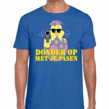 Fout pasen t-shirt blauw donder op met je pasen voor heren