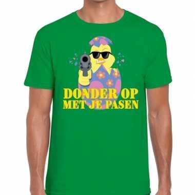 Fout pasen t-shirt groen donder op met je pasen voor heren