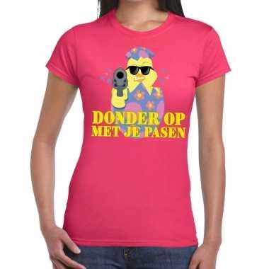Fout pasen t-shirt roze donder op met je pasen voor dames