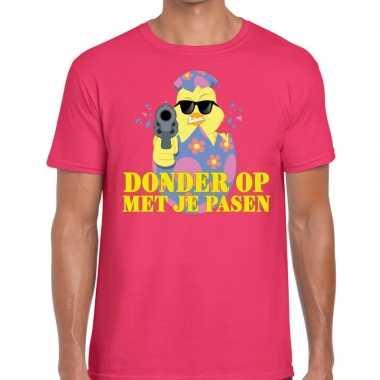 Fout pasen t-shirt roze donder op met je pasen voor heren