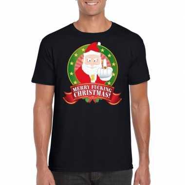 Foute kerst-shirt zwart merry fucking christmas voor heren