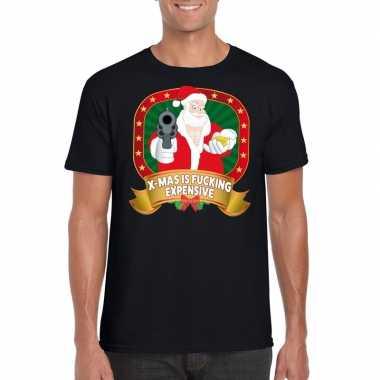 Foute kerst shirt zwart x-mas is fucking expensive voor heren